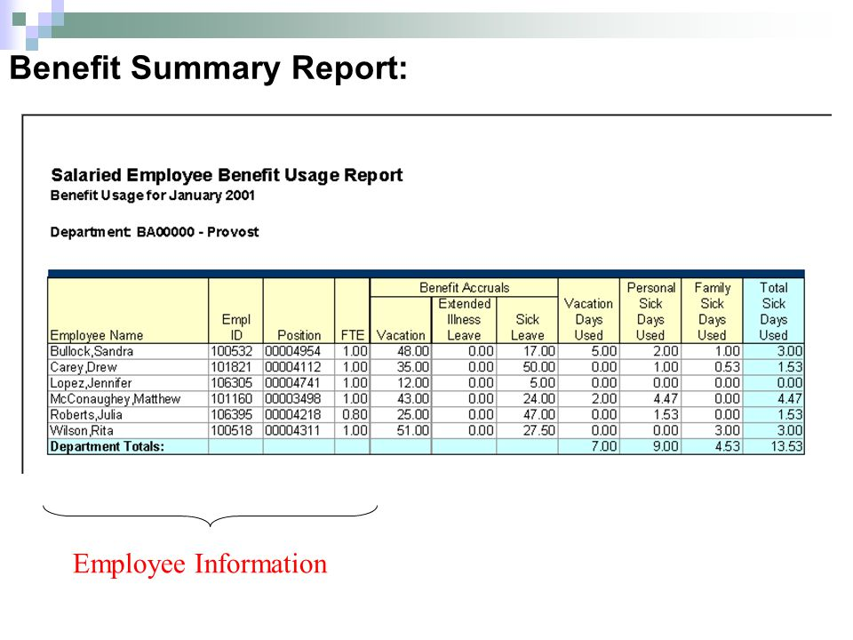 Benefit Summary Report: Employee Information