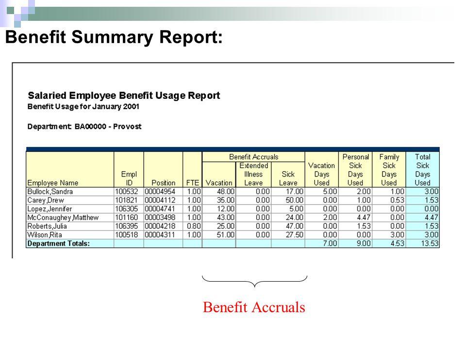 Benefit Summary Report: Benefit Accruals