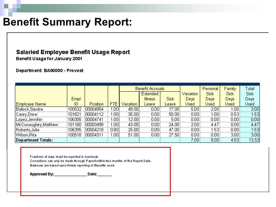 Benefit Summary Report: