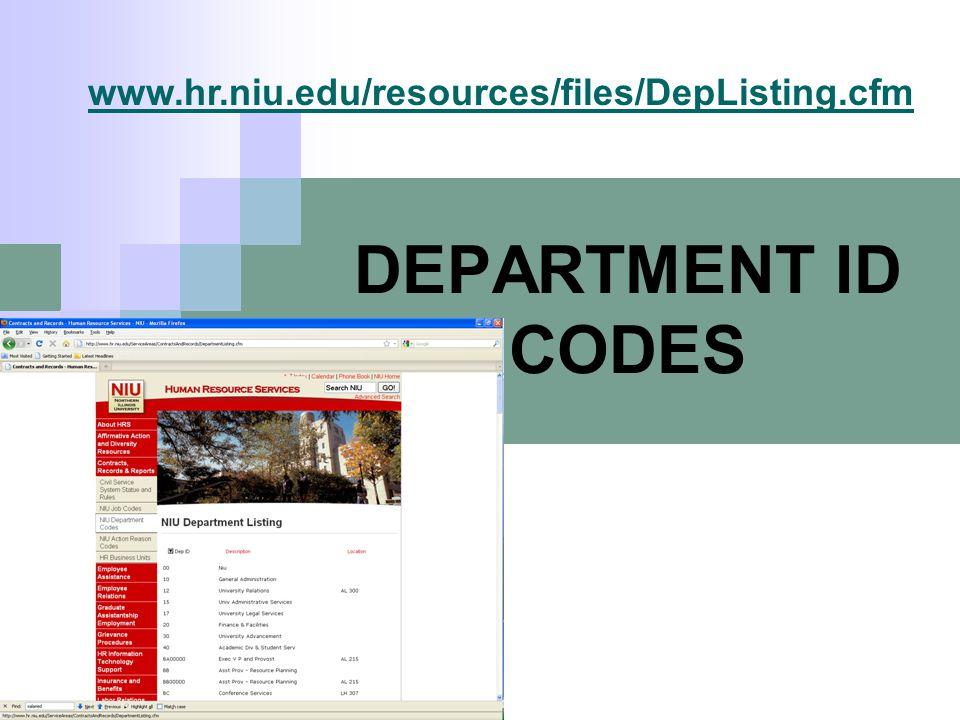 DEPARTMENT ID CODES www.hr.niu.edu/resources/files/DepListing.cfm