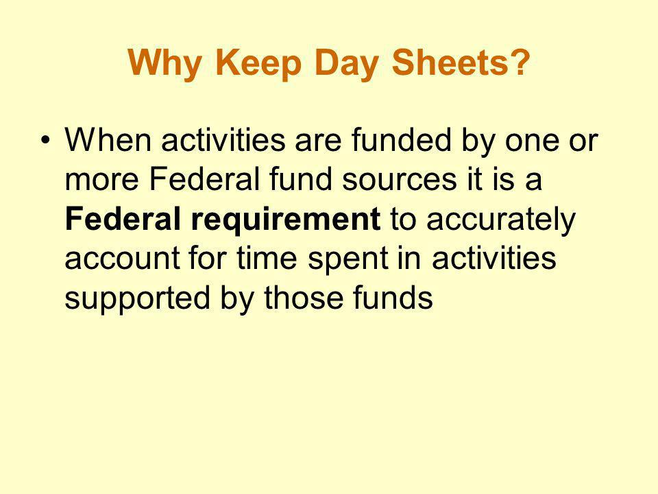 Why Keep Day Sheets? Day sheets also: –Provide information to determine the cost of services provided –Enable more effective planning and budgeting –P