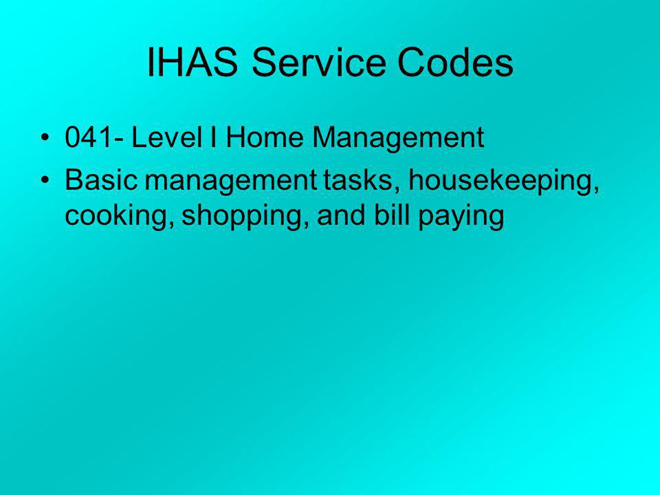 IHAS Program Codes B – age 18 through 59 I – age 60 and over 87½% Federal with 12½% County Match