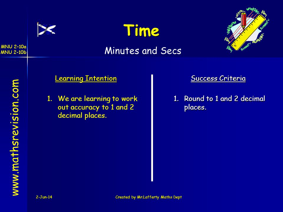 MNU 2-10a MNU 2-10b 2-Jun-14Created by Mr.Lafferty Maths Dept www.mathsrevision.com Learning Intention Success Criteria 1.We are learning to work out