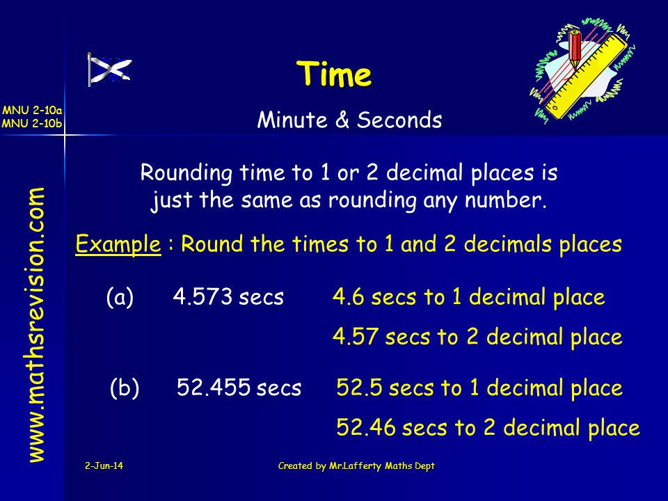 MNU 2-10a MNU 2-10b 2-Jun-14Created by Mr.Lafferty Maths Dept www.mathsrevision.com Time Minute & Seconds Rounding time to 1 or 2 decimal places is ju