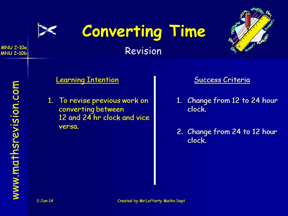 MNU 2-10a MNU 2-10b 2-Jun-14Created by Mr.Lafferty Maths Dept www.mathsrevision.com Learning Intention Success Criteria 2.Change from 24 to 12 hour cl