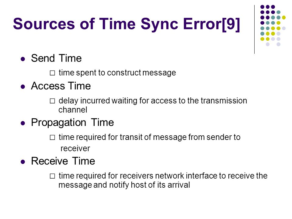 Sources of Time Sync Error[9] Send Time time spent to construct message Access Time delay incurred waiting for access to the transmission channel Prop