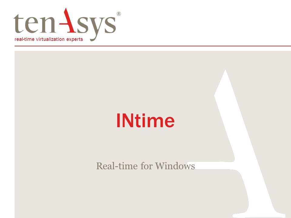 real-time virtualization experts INtime Real-time for Windows