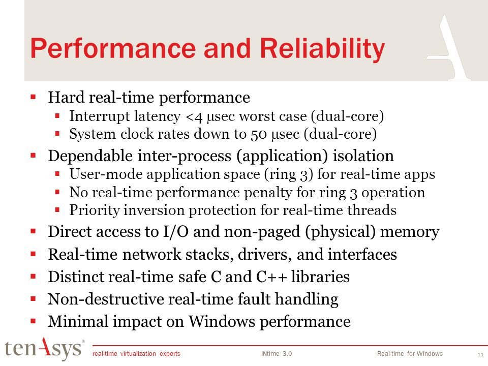 real-time virtualization experts INtime 3.0Real-time for Windows 11 Performance and Reliability Hard real-time performance Interrupt latency <4 µsec w
