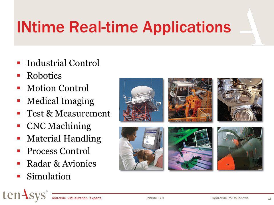 real-time virtualization experts INtime 3.0Real-time for Windows 13 INtime Real-time Applications Industrial Control Robotics Motion Control Medical Imaging Test & Measurement CNC Machining Material Handling Process Control Radar & Avionics Simulation