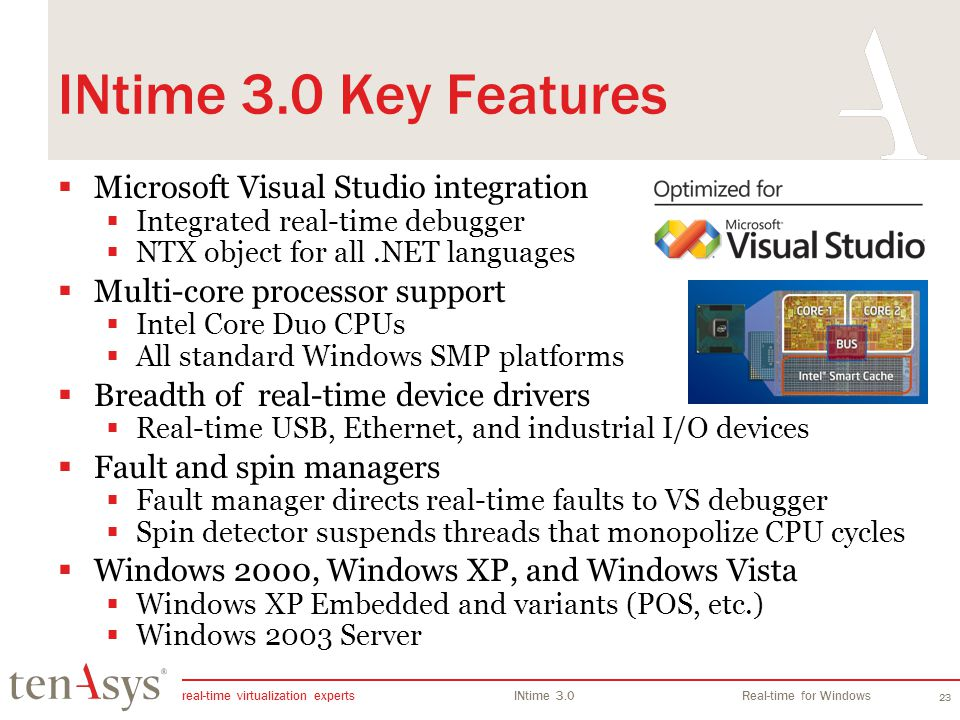 real-time virtualization experts INtime 3.0Real-time for Windows 23 INtime 3.0 Key Features Microsoft Visual Studio integration Integrated real-time d