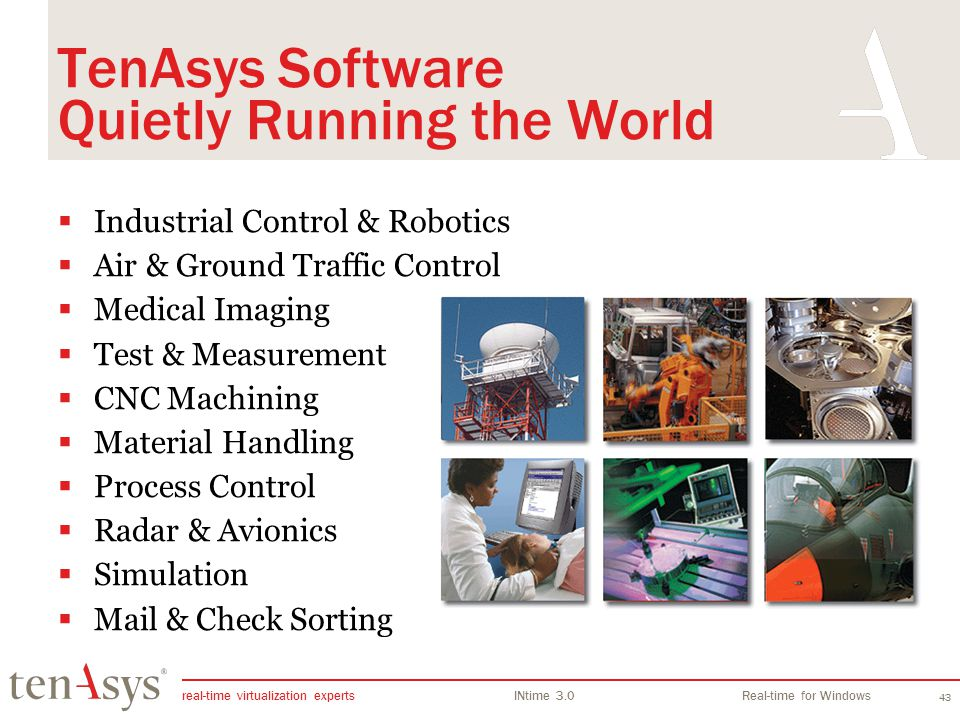 real-time virtualization experts INtime 3.0Real-time for Windows 43 TenAsys Software Quietly Running the World Industrial Control & Robotics Air & Gro