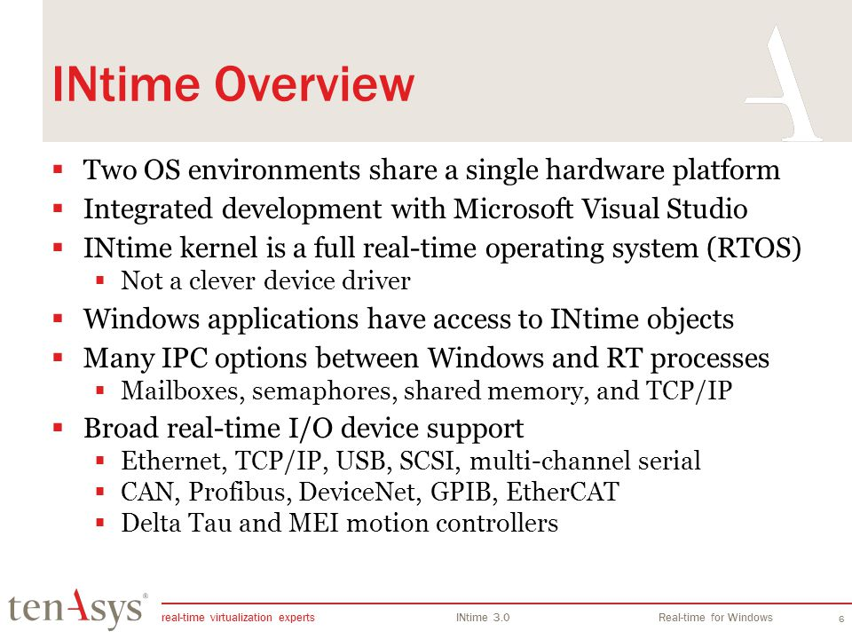 real-time virtualization experts INtime 3.0Real-time for Windows 6 INtime Overview Two OS environments share a single hardware platform Integrated dev