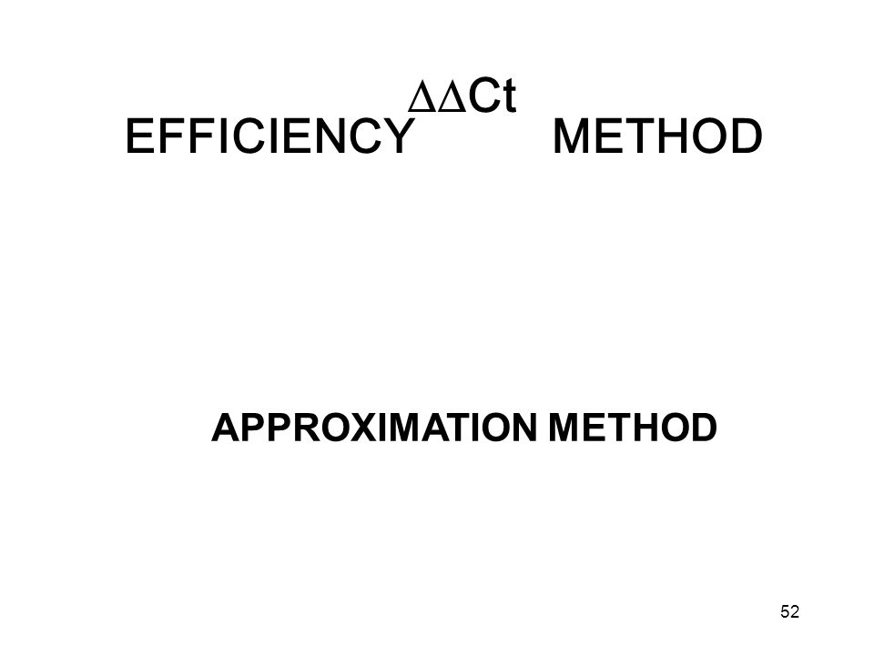 52 Ct EFFICIENCY METHOD APPROXIMATION METHOD
