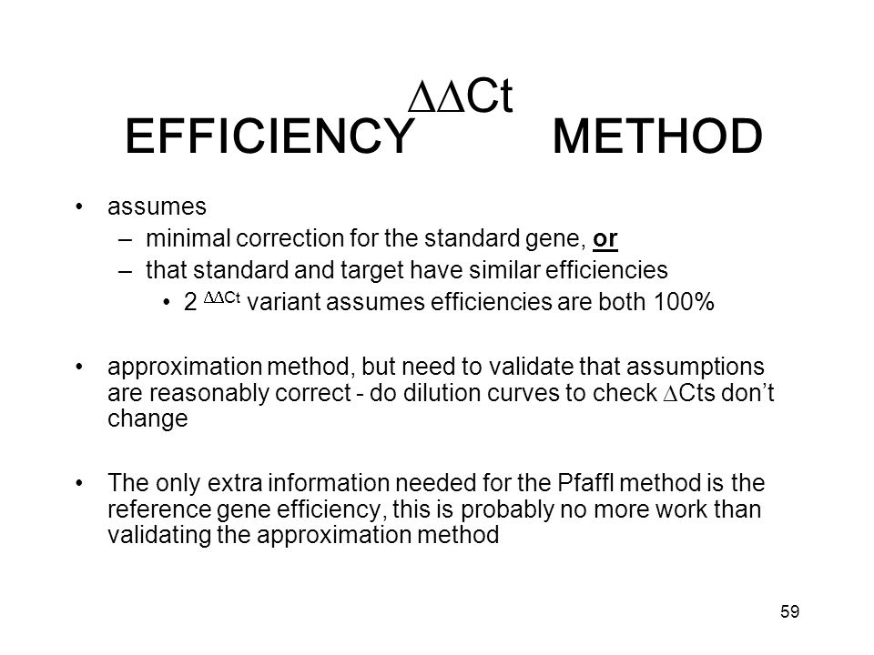 59 assumes –minimal correction for the standard gene, or –that standard and target have similar efficiencies 2 Ct variant assumes efficiencies are both 100% approximation method, but need to validate that assumptions are reasonably correct - do dilution curves to check Cts dont change The only extra information needed for the Pfaffl method is the reference gene efficiency, this is probably no more work than validating the approximation method Ct EFFICIENCY METHOD