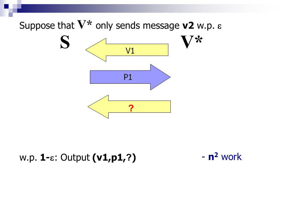 SV* V1 P1 V2 P2 V2 P1 Suppose that V* only sends message v2 w.p.