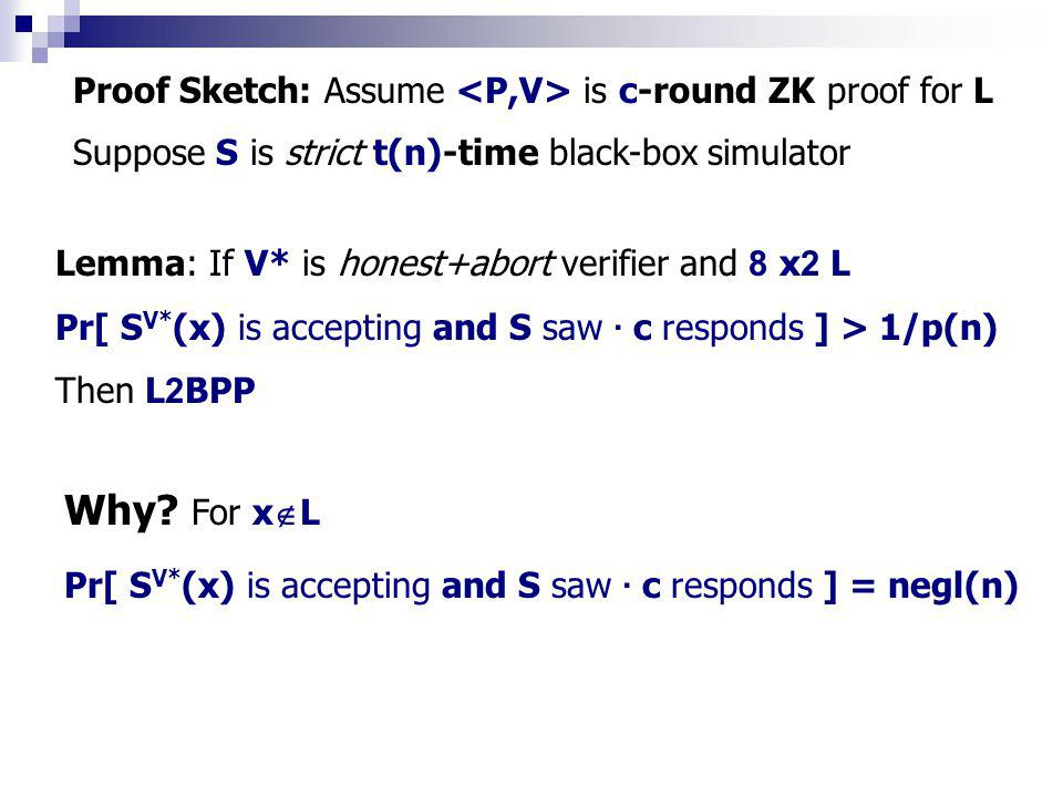 Obtaining POK with strict poly-time extractor Proof Outline: Let L 2 NP, a ZKPOK will be PV y=Comm(w) x2Lx2L w 2 W(x) ZKP Comm -1 (y) 2 W(x) Commit-With-Extract Need constant-round commitment scheme s.t.