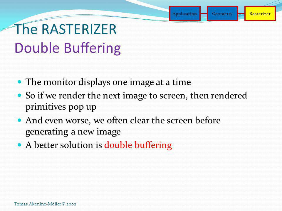 Tomas Akenine-Mőller © 2002 The RASTERIZER Double Buffering The monitor displays one image at a time So if we render the next image to screen, then re