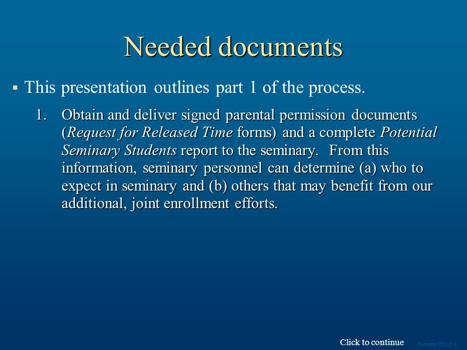 This presentation outlines part 1 of the process.
