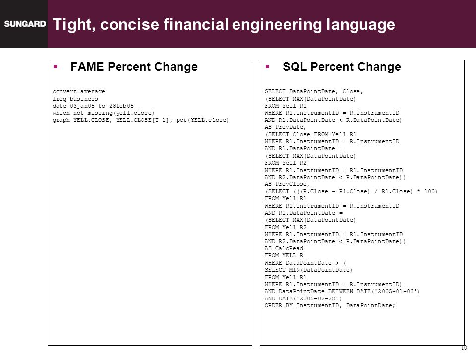 10 Tight, concise financial engineering language FAME Percent Change convert average freq business date 03jan05 to 28feb05 which not missing(yell.close) graph YELL.CLOSE, YELL.CLOSE[T-1], pct(YELL.close) SQL Percent Change SELECT DataPointDate, Close, (SELECT MAX(DataPointDate) FROM Yell R1 WHERE R1.InstrumentID = R.InstrumentID AND R1.DataPointDate < R.DataPointDate) AS PrevDate, (SELECT Close FROM Yell R1 WHERE R1.InstrumentID = R.InstrumentID AND R1.DataPointDate = (SELECT MAX(DataPointDate) FROM Yell R2 WHERE R1.InstrumentID = R1.InstrumentID AND R2.DataPointDate < R.DataPointDate)) AS PrevClose, (SELECT (((R.Close - R1.Close) / R1.Close) * 100) FROM Yell R1 WHERE R1.InstrumentID = R.InstrumentID AND R1.DataPointDate = (SELECT MAX(DataPointDate) FROM Yell R2 WHERE R1.InstrumentID = R1.InstrumentID AND R2.DataPointDate < R.DataPointDate)) AS CalcRead FROM YELL R WHERE DataPointDate > ( SELECT MIN(DataPointDate) FROM Yell R1 WHERE R1.InstrumentID = R.InstrumentID) AND DataPointDate BETWEEN DATE( 2005-01-03 ) AND DATE( 2005-02-28 ) ORDER BY InstrumentID, DataPointDate;