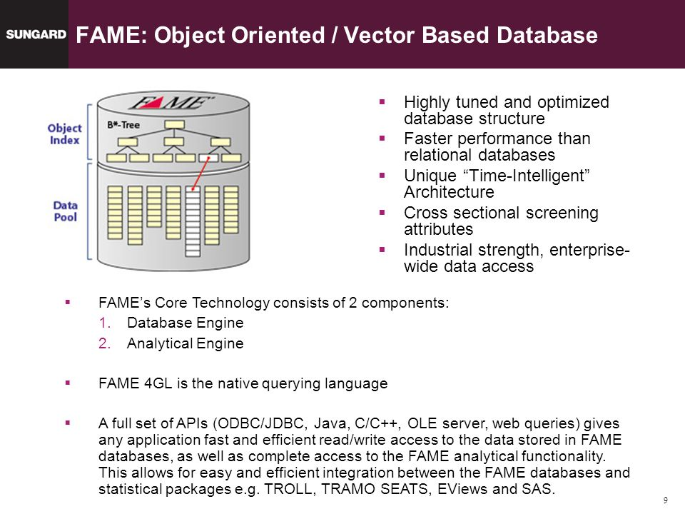 9 FAME: Object Oriented / Vector Based Database Highly tuned and optimized database structure Faster performance than relational databases Unique Time-Intelligent Architecture Cross sectional screening attributes Industrial strength, enterprise- wide data access FAMEs Core Technology consists of 2 components: 1.Database Engine 2.Analytical Engine FAME 4GL is the native querying language A full set of APIs (ODBC/JDBC, Java, C/C++, OLE server, web queries) gives any application fast and efficient read/write access to the data stored in FAME databases, as well as complete access to the FAME analytical functionality.