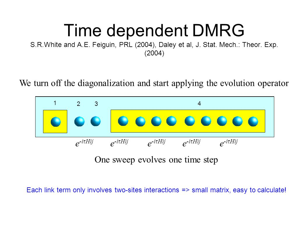 Time dependent DMRG S.R.White and A.E. Feiguin, PRL (2004), Daley et al, J. Stat. Mech.: Theor. Exp. (2004) 1 2 3 4 1 2 3 4 1 2 3 4 1 2 3 4 1 23 4 1 2