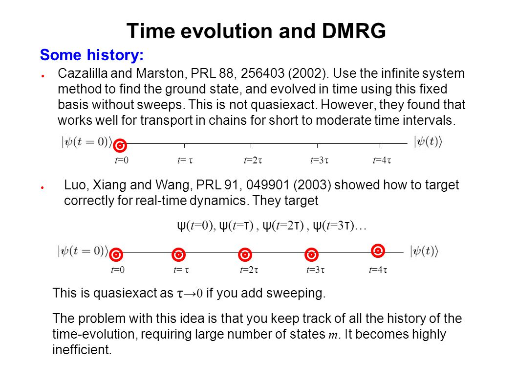 Time evolution and DMRG Cazalilla and Marston, PRL 88, 256403 (2002). Use the infinite system method to find the ground state, and evolved in time usi