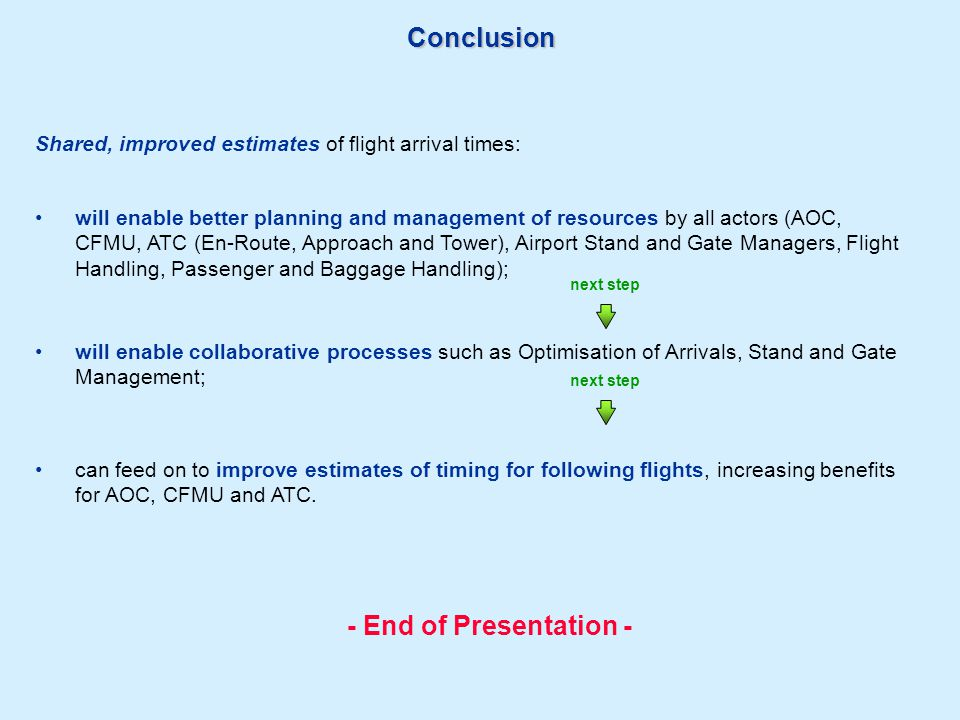 Conclusion can feed on to improve estimates of timing for following flights, increasing benefits for AOC, CFMU and ATC. will enable collaborative proc