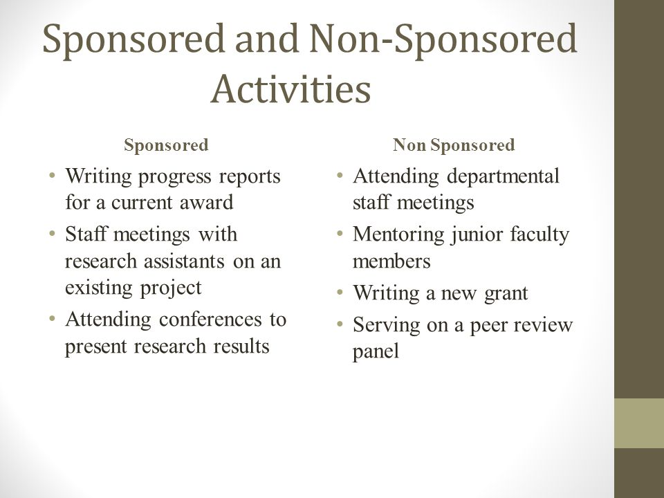 Sponsored and Non-Sponsored Activities Sponsored Writing progress reports for a current award Staff meetings with research assistants on an existing project Attending conferences to present research results Non Sponsored Attending departmental staff meetings Mentoring junior faculty members Writing a new grant Serving on a peer review panel
