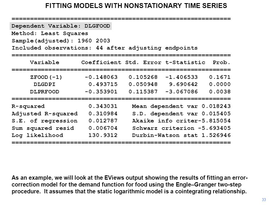 FITTING MODELS WITH NONSTATIONARY TIME SERIES 33 As an example, we will look at the EViews output showing the results of fitting an error- correction