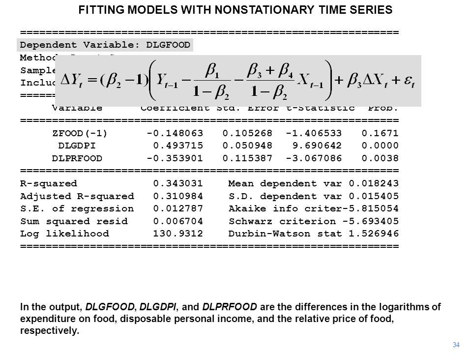 Dependent Variable: DLGFOOD Method: Least Squares Sample(adjusted): 1960 2003 Included observations: 44 after adjusting endpoints ============================================================ Variable Coefficient Std.