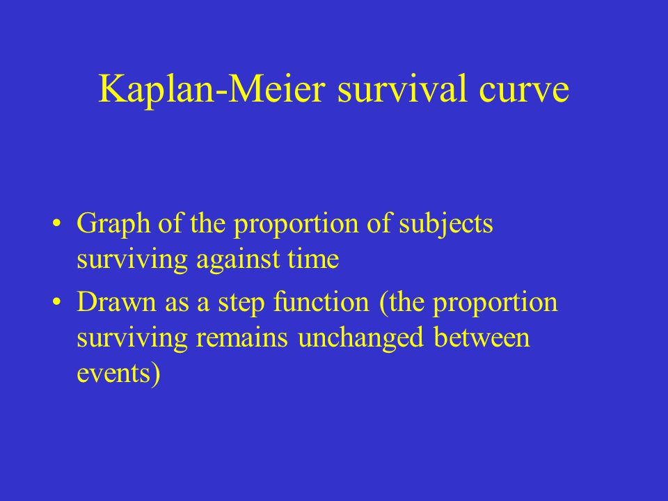 Kaplan-Meier survival curve Graph of the proportion of subjects surviving against time Drawn as a step function (the proportion surviving remains unch