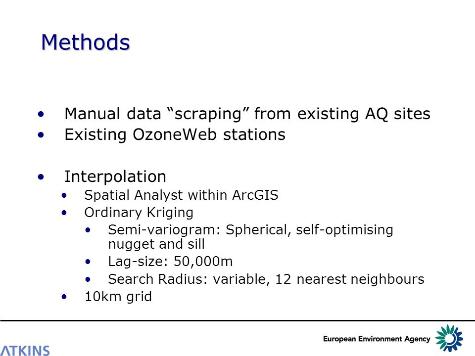 Methods Manual data scraping from existing AQ sites Existing OzoneWeb stations Interpolation Spatial Analyst within ArcGIS Ordinary Kriging Semi-variogram: Spherical, self-optimising nugget and sill Lag-size: 50,000m Search Radius: variable, 12 nearest neighbours 10km grid