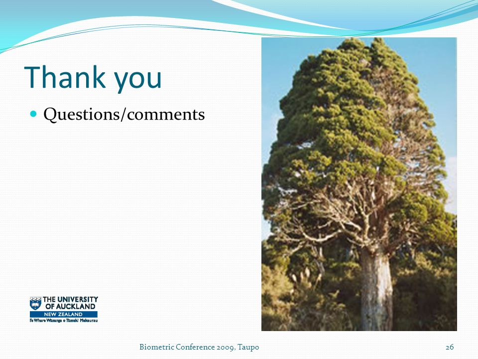 Thank you Questions/comments 26Biometric Conference 2009, Taupo
