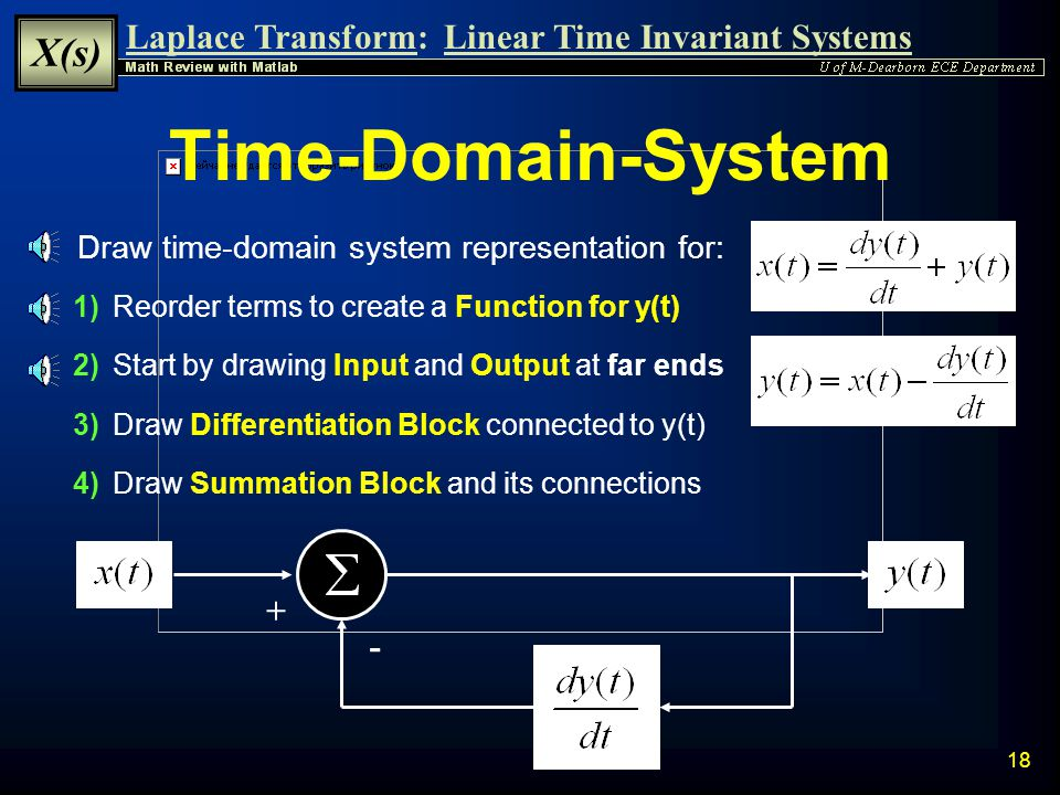 Laplace Transform: X(s) Linear Time Invariant Systems 17 Directly Determine H(s) The Transfer Function H(s) can be directly determined by taking the L
