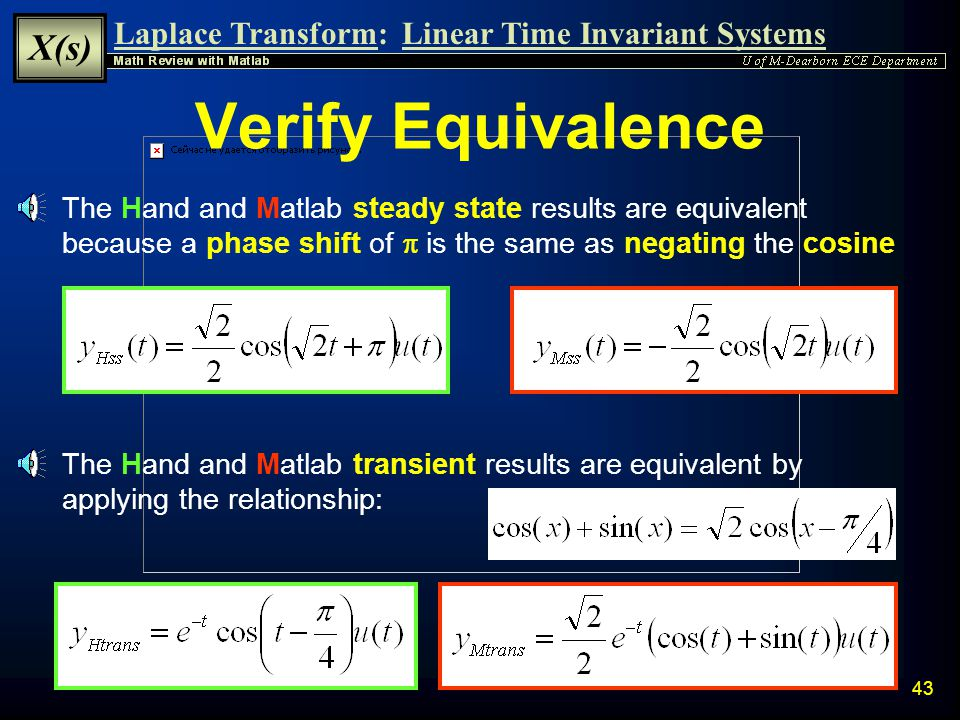 Laplace Transform: X(s) Linear Time Invariant Systems 42 Matlab Verification Matlab can be used to determine Inverse Laplace Transform Result will hav