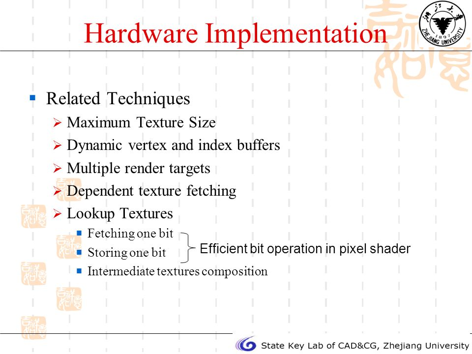 Hardware Implementation Related Techniques Maximum Texture Size Dynamic vertex and index buffers Multiple render targets Dependent texture fetching Lookup Textures Fetching one bit Storing one bit Intermediate textures composition Efficient bit operation in pixel shader