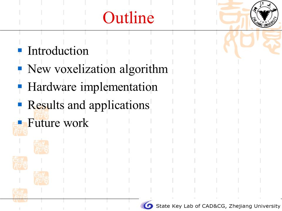 Outline Introduction New voxelization algorithm Hardware implementation Results and applications Future work
