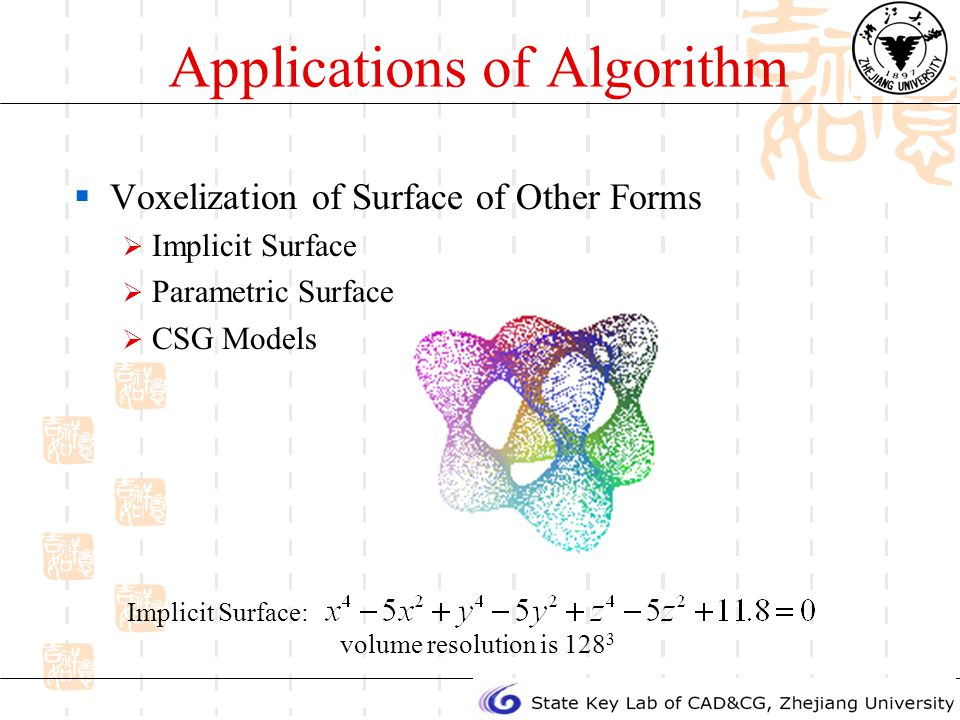 Applications of Algorithm Voxelization of Surface of Other Forms Implicit Surface Parametric Surface CSG Models Implicit Surface: volume resolution is 128 3