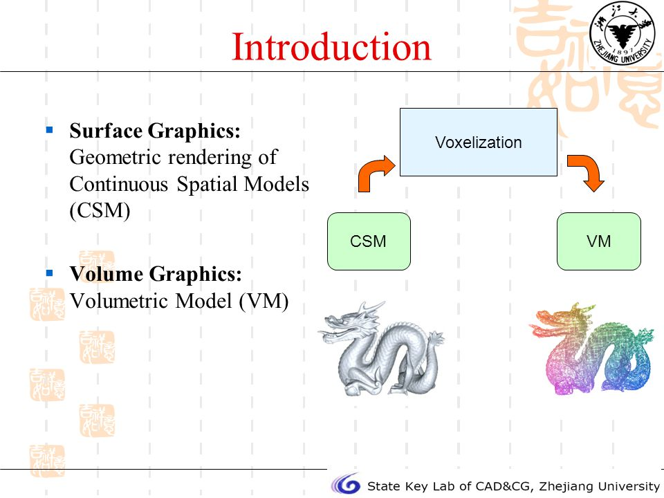 Introduction Surface Graphics: Geometric rendering of Continuous Spatial Models (CSM) Volume Graphics: Volumetric Model (VM) Voxelization CSMVM