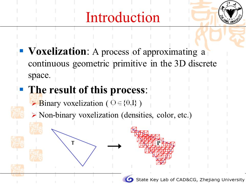 Introduction Voxelization: A process of approximating a continuous geometric primitive in the 3D discrete space.