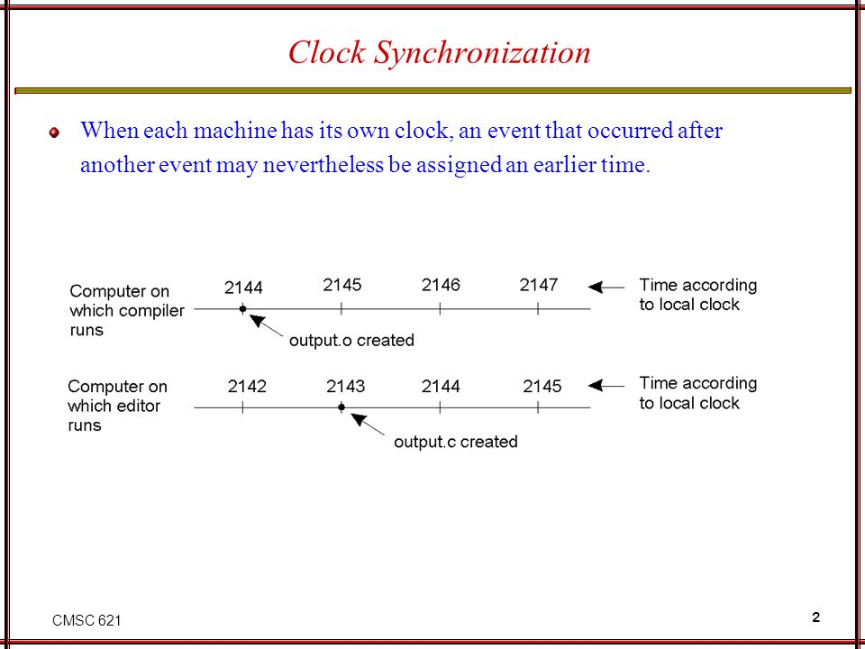 CMSC 621 13 Clock synchronization in wireless networks Reference Broadcasting Synchronization (RBS) Server queries nodes for their times to compute an offset for them Servers clock is left out of the synchronization Assumes no multihop routing Sender sends message Propagation delay is same for all receivers Nodes estimate their offsets from each other T(p,m) = time p receives m Relative offset of node p wrt to node q is Can also estimate relative offset via a linear regression