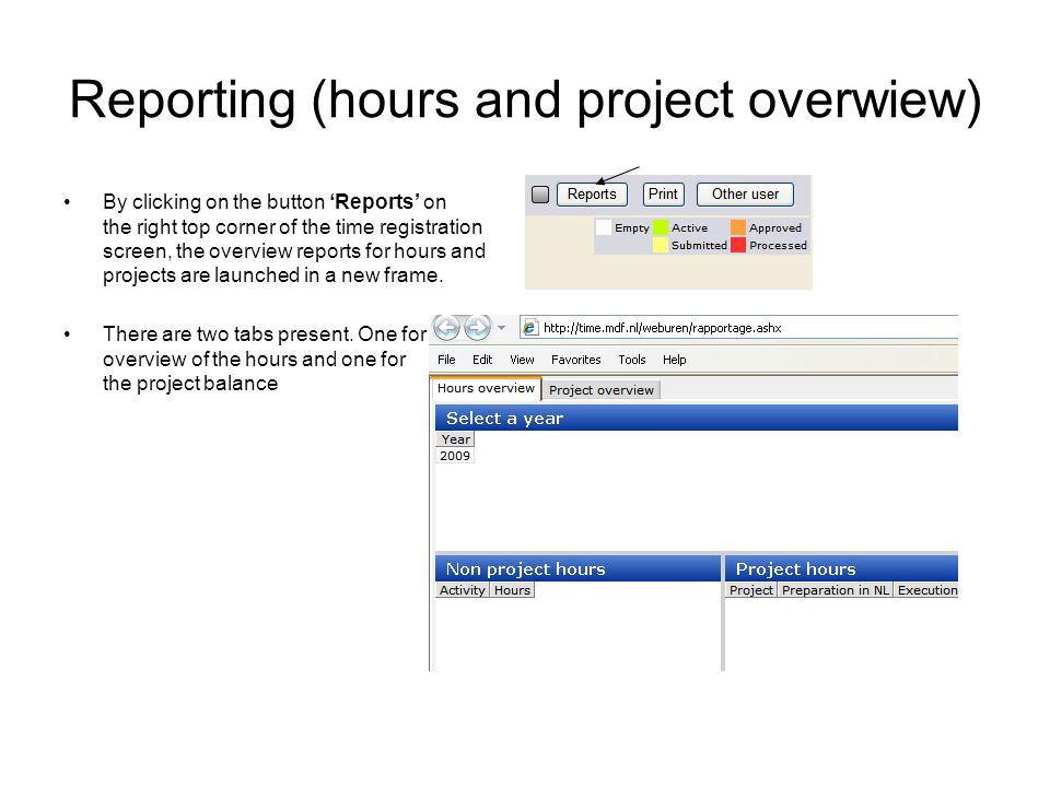 Reporting (hours and project overwiew) By clicking on the button Reports on the right top corner of the time registration screen, the overview reports for hours and projects are launched in a new frame.