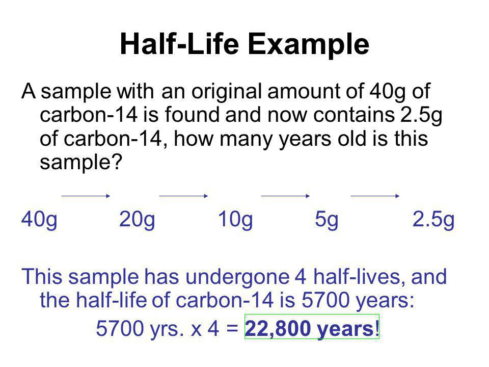 Half-Life Example A sample with an original amount of 40g of carbon-14 is found and now contains 2.5g of carbon-14, how many years old is this sample.