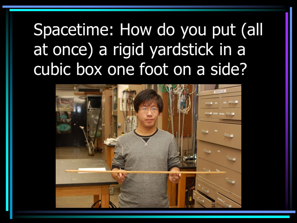 Spacetime: How do you put (all at once) a rigid yardstick in a cubic box one foot on a side