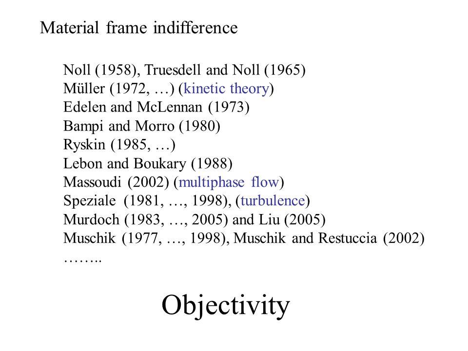 Rheology Jaumann (1911) Oldroyd (1949, …) … Kluitenberg (1962, …), Kluitenberg, Ciancio and Restuccia (1978, …) Verhás (1977, …, 1998) Thermodynamic theory with co-rotational time derivatives.
