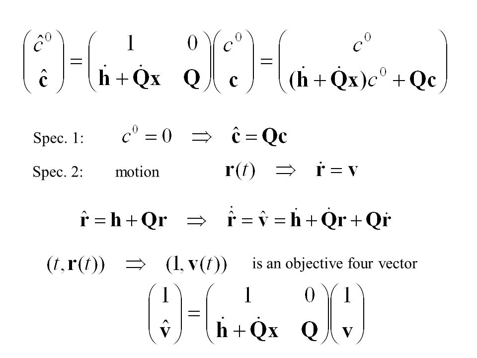 About objectivity: is a four dimensional objective vector, if where Noll (1958)