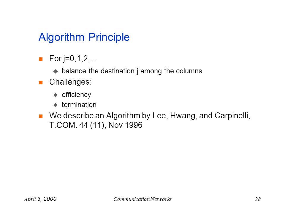April 3, 2000Communication Networks28 Algorithm Principle For j=0,1,2,… balance the destination j among the columns Challenges: efficiency termination We describe an Algorithm by Lee, Hwang, and Carpinelli, T.COM.