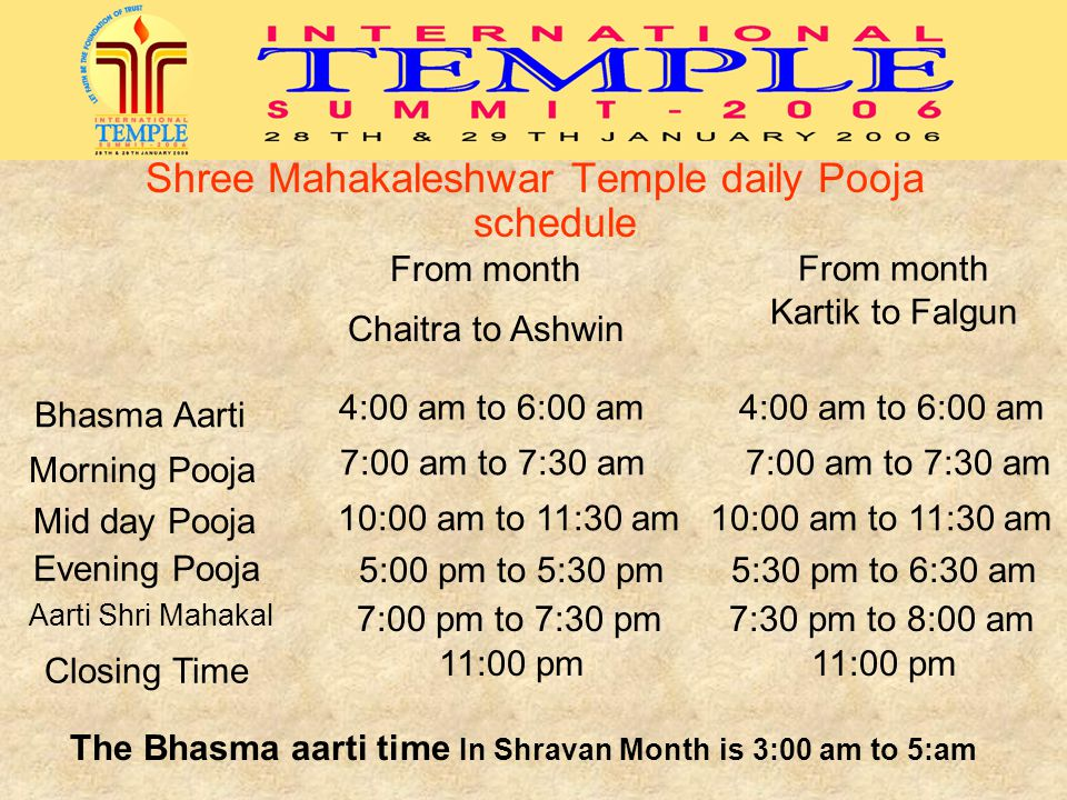 Shree Mahakaleshwar Temple daily Pooja schedule From month Chaitra to Ashwin From month Kartik to Falgun Bhasma Aarti 4:00 am to 6:00 am Morning Pooja