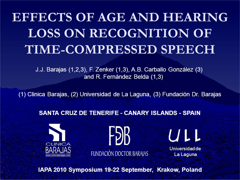 EFFECTS OF AGE AND HEARING LOSS ON RECOGNITION OF TIME-COMPRESSED SPEECH J.J.