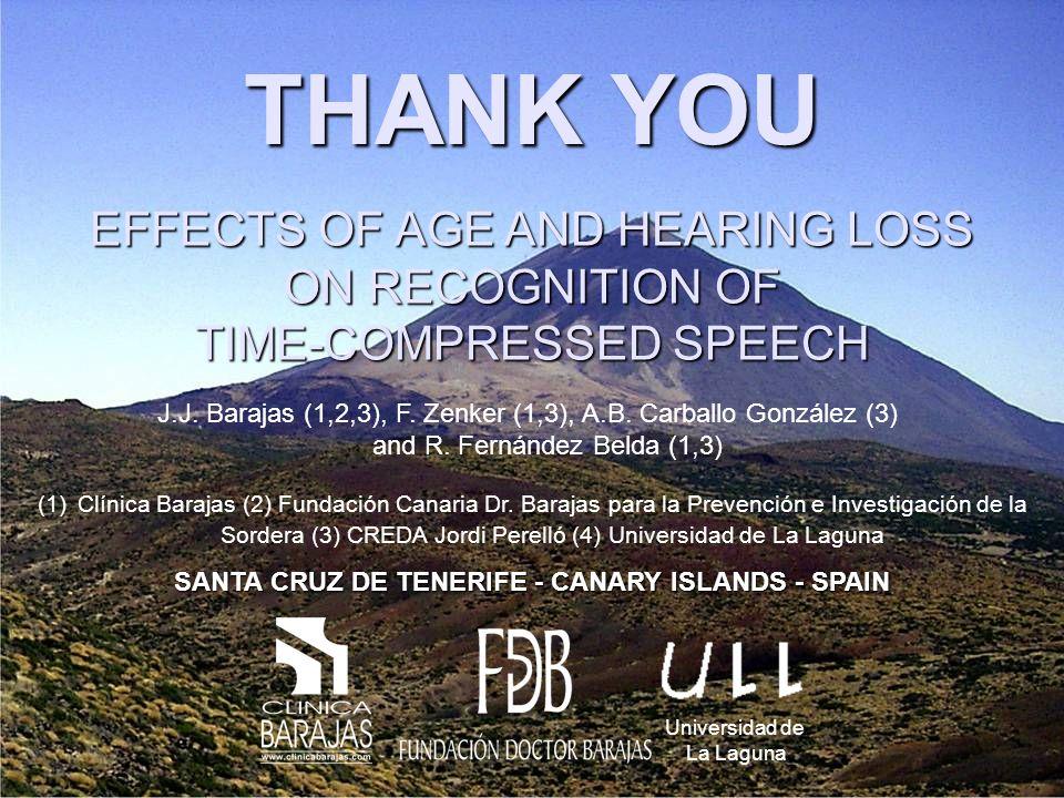 THANK YOU (1)Clínica Barajas (2) Fundación Canaria Dr.